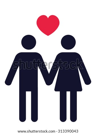 man and woman holding hands pictogram with a red heart above - stock vector