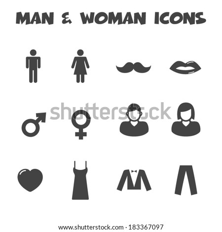 man and woman icons, mono vector symbols - stock vector