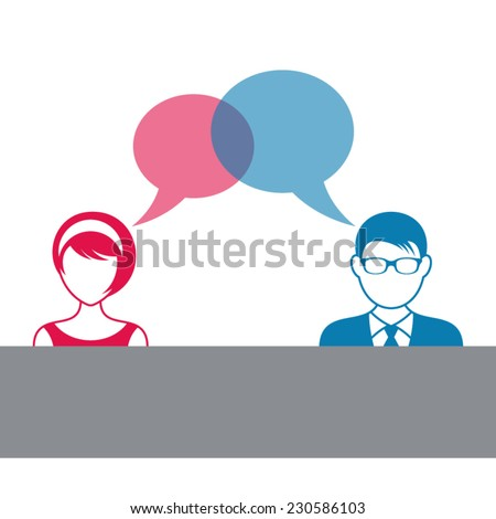 Man and woman icons with dialog speech bubbles - stock vector