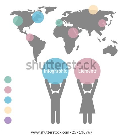Man and woman icons with space for text and infographic map isolated on white background - stock vector