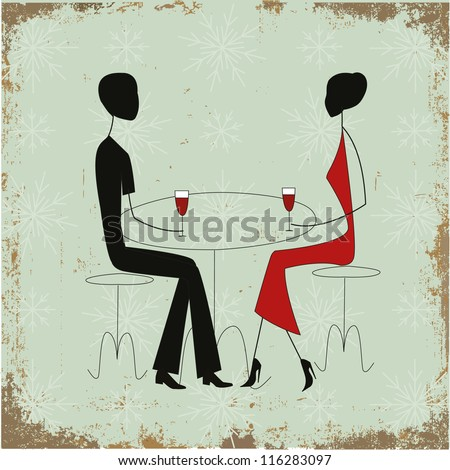Man and woman in a restaurant - stock vector