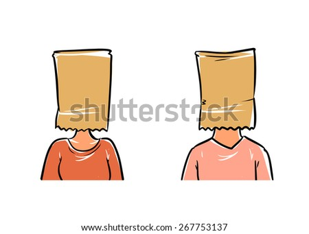man and woman in bag on the head - stock vector