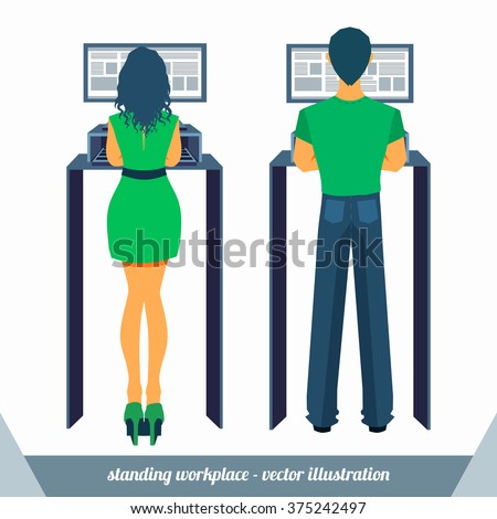 Man and woman in casual clothes working in a standing position workplace in front of monitor. Vector illustration.