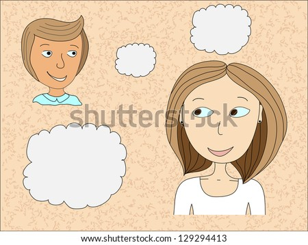 Man and woman in conversation with speech bubbles - stock vector