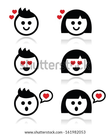 Man and woman in love icons set  - stock vector