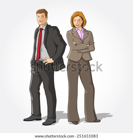 Man and woman in office wear  - stock vector