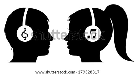Man and woman listening to music - stock vector