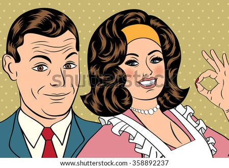 Man and woman love couple in pop art comic style, vector illustration - stock vector