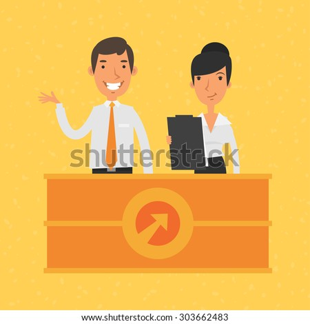 Man and woman manager and reception - stock vector