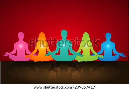 man and woman meditate, yoga. - stock vector