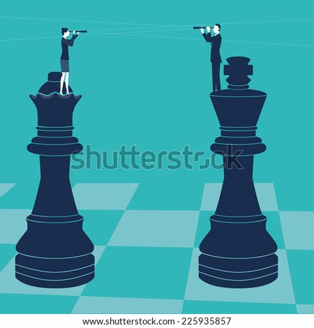 Man and woman on chess pieces with spyglass. Vector illustration. Created with adobe illustrator. - stock vector