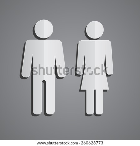 man and woman paper person icon design - stock vector