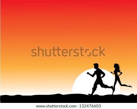 Man and woman running at sunrise or sunset. EPS 8 vector, grouped for easy editing. No open shapes or paths. - stock vector