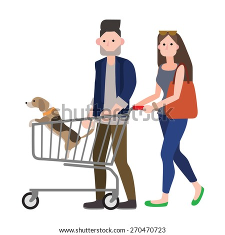 man and woman shopping with their dog - stock vector