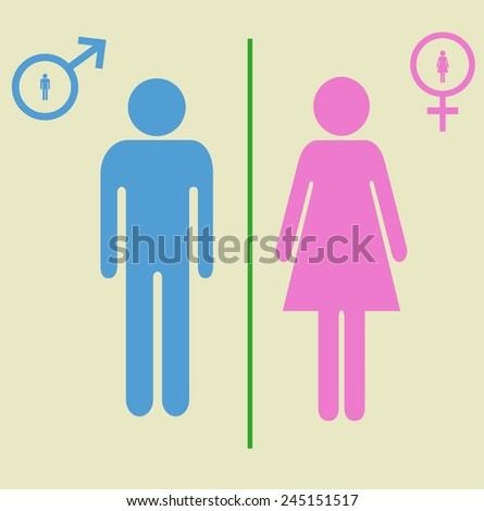 man and woman signs - stock vector