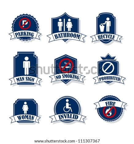 man and woman signs over labels. vector illustration - stock vector