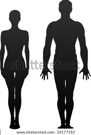 man and woman(silhouette) - stock vector