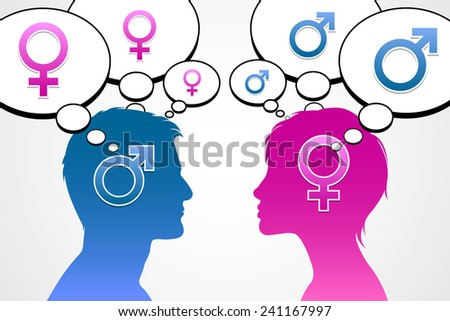 Man and woman silhouette with mars and venus symbols is thinking about opposite sex - stock vector