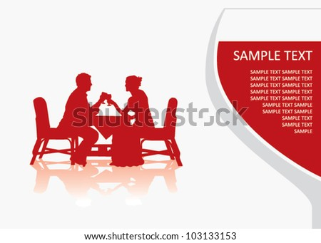 Man and woman sitting at the table and drinking wine - vector illustration - stock vector