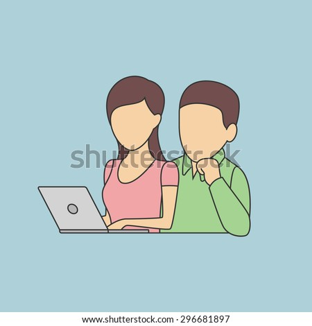 Man and Woman Sitting in front of the Laptop. Vector Flat Illustration. - stock vector