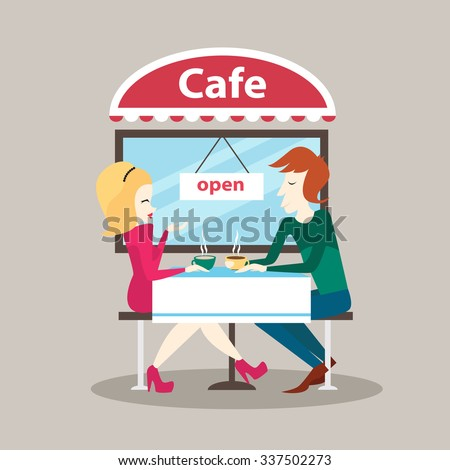 Man and woman sitting in outdoor cafe. Street cafe. Invitation to a break, lunch time, date in a cafe. Coffee Shop. Vector illustration - stock vector