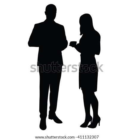 Man and woman standing and drinking coffee. Vector silhouettes. Break, time to relax at work in office. Man in suit, Woman in skirt, high-heeled shoes. Managers, lawyers, merchants, business partners - stock vector
