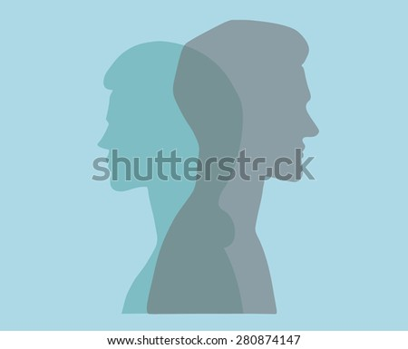 Man and woman. Vector silhouette portraits of a couple. Bold graphic style, intersecting transparent layers. Relationship, marriage, dating. Concept illustration, vector art, logo design, packaging. - stock vector