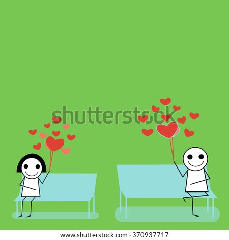 Man and woman   waiting for love - stock vector