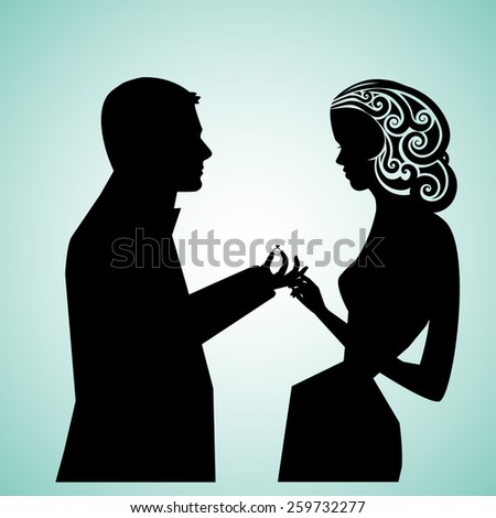 Man and woman wedding proposal (Ring separate element) - stock vector