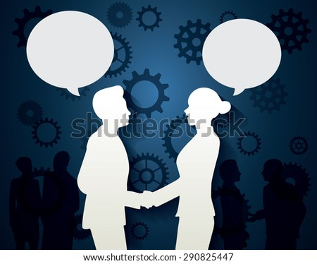 Man and Woman with dialog speech on gear the blue background. - stock vector