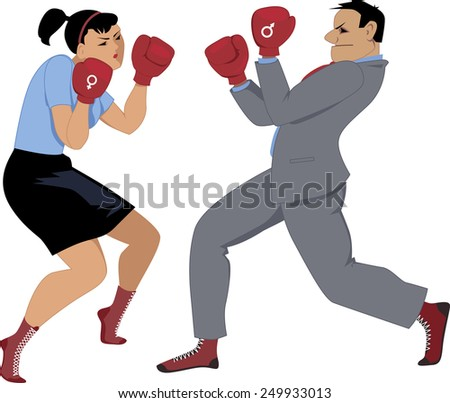 Man and woman with male and female symbol on their boxing gloves fighting, vector illustration, isolated on white - stock vector
