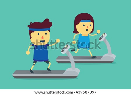 Man and woman workout with running on treadmill. This illustration about exercise. - stock vector