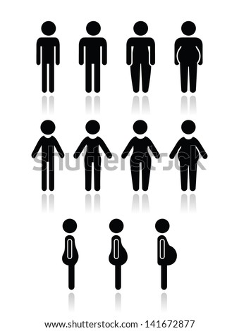 Man and women body type icons - slim, fat, obese, thin, - stock vector