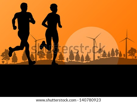 Man and women marathon runners in wild forest nature countryside landscape background illustration vector - stock vector