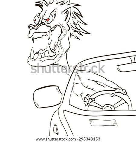 man angrily got out of the car - stock vector