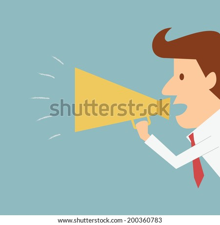 man announcing through megaphone advertising  - stock vector