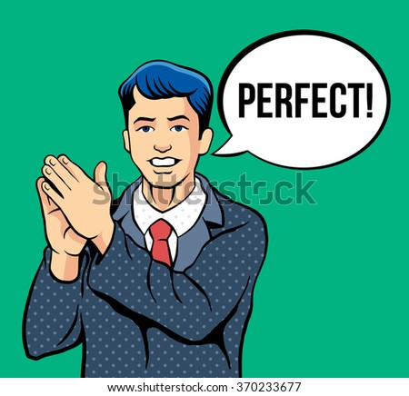 Man applause. Vector comic illustration - stock vector