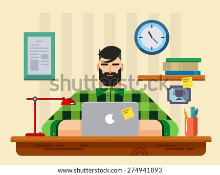 Man at a Desk in Front of Laptop flat design style - stock vector