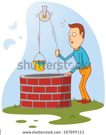 man at well - stock vector