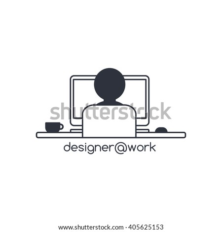 man at work back view - designer programmer computer theme - stock vector