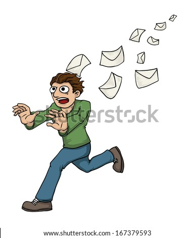 Man being chased by spam mail, vector illustration - stock vector