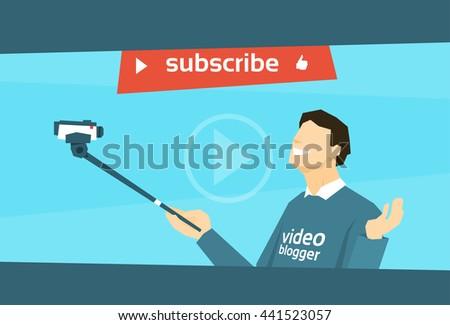 Man Blogger Hold Camera Selfie Stick Shooting Selfie Video Blog Flat Vector Illustration - stock vector