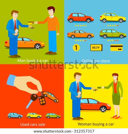 Man buying a car, Woman buying a car, Online car store, Used cars sale vector illustrations. Flat style design. - stock vector