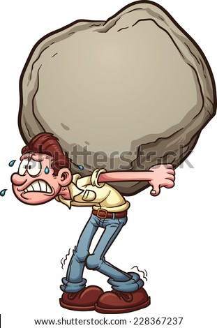 Man carrying a heavy burden, a huge rock. Vector clip art illustration with simple gradients. Man and rock on separate layer. - stock vector