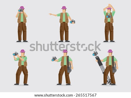 Man carrying camera and other photography equipment in different gestures. Vector cartoon character illustration isolated on plain background.  - stock vector