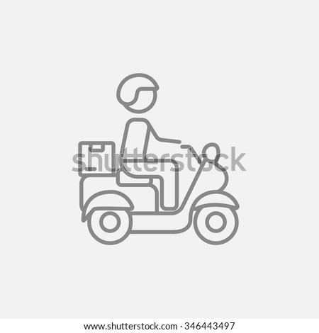 Man carrying goods on bike line icon for web, mobile and infographics. Vector dark grey icon isolated on light grey background. - stock vector