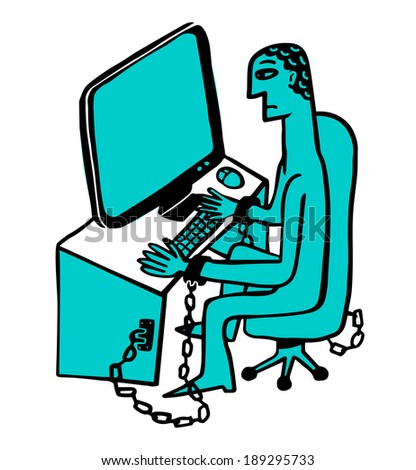 man chained to a desk with pc - stock vector