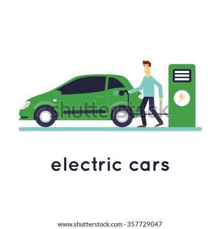 Man Charges electric cars. Ecology isolated on white background. Flat design vector illustration. - stock vector