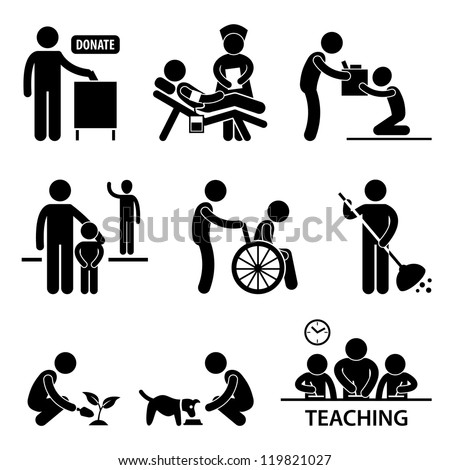 Man Charity Donation Volunteer Helping People Stick Figure Pictogram Icon - stock vector