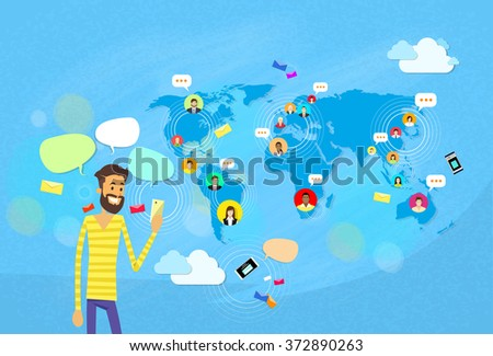 Man Chatting Texting, Social Network Communication Concept World Map Coworking Flat Vector Illustration - stock vector